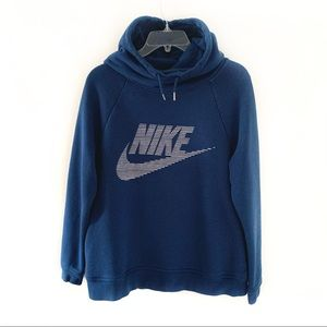 Nike Blue Pullover Hoodie Spellout Swoosh Logo M